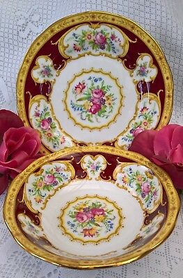 Gorgeous Royal Albert Lady Hamilton Rare Fruit Nappy Bowl & Plate Made In Eng!!!