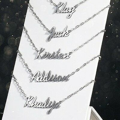 """Personalised Stainless Steel Your Custom Name Necklace 19"""" Chain + Organza Pouch"""