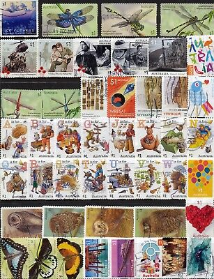 Australian Stamps $1.00 (2 pages) 2018/2017 99 Different Recent/Used/Bulk