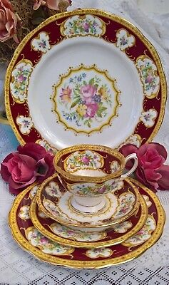 Superb Royal Albert Lady Hamilton 5 Piece Setting Made In England 1St Quality!!!