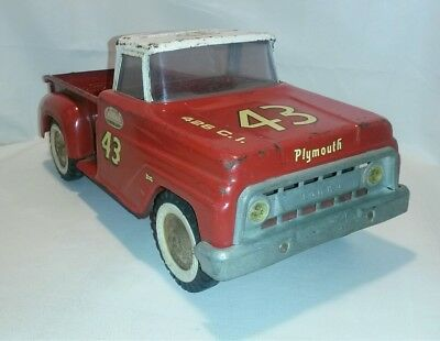 ☆ RARE 1960s Red Tonka Step Side Pickup Truck Pressed Steel RICHARD PETTY #43