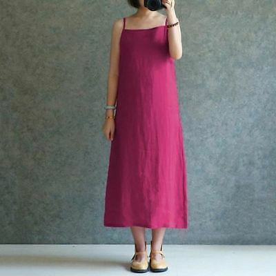 Women Vintage Style Cotton Material Spaghetti Strap Mid Calf Casual Sundress