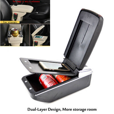 1X Telescopic Style PU Leather Car Central Container Armrest Box With Cup Holder