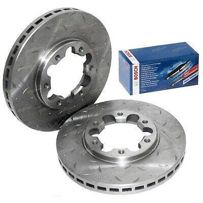 Front Drilled + Slotted Disc Rotor + Bosch Brake Pads for Patrol GU Y61 1997~16