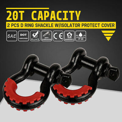 2 PCs D Ring Shackle Black w/ Isolator Tow Cover Silencer Red Clevis Protector