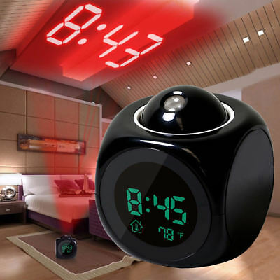 LCD Proiezione Orologio digitale sveglia led display temperatura data Voice Talk