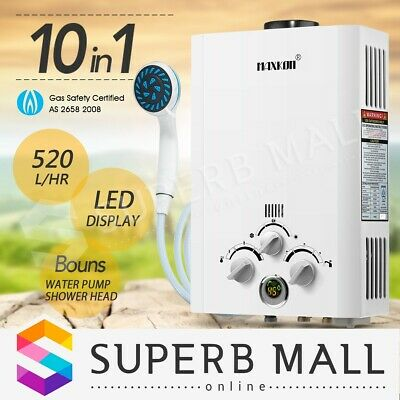 Portable MAXKON 520L/Hr Gas Hot Water Heater LPG Instant Shower Camping Outdoor