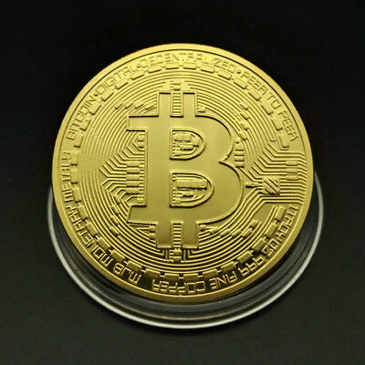 10Pcs Gold Bitcoin Commemorative Round Collectors BitCoin Plated Physical Coins