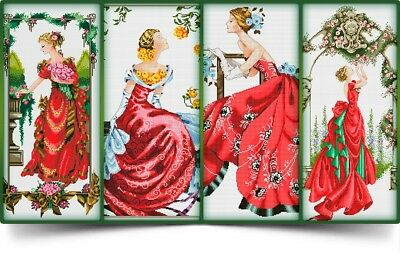 Set of 4 Mirabilia Lady's in Red - Cross Stitch Chart - Digital Format