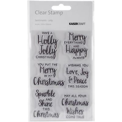 Kaisercraft Sentiments - Jolly. Clear stamp 6 set. Christmas festive