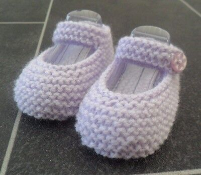 New - Hand Knitted Lilac Baby Bootees - 0-3 Months