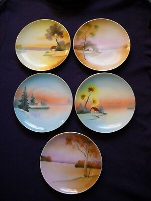"Vintage Meito China, Five 6"" Hand-Painted Plates"