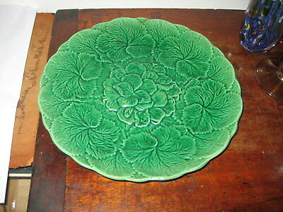 Late 19Th Century English Or French Green Leaves Majolica Plate