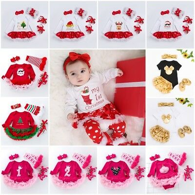 UK 4Pcs Newborn Baby Girl Christmas Romper Tutu Dress Leg Warmers Outfit Clothes