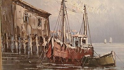 Original -  Boats in Harbour - signed- by British painter W Jones