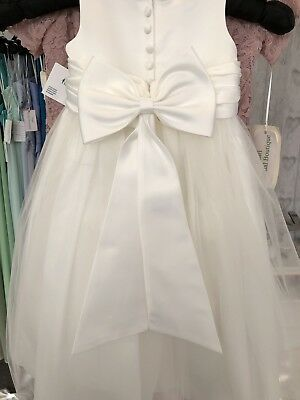 Ivory Satin Flower Girl Bridesmaid Dress Sash Belt With Bow
