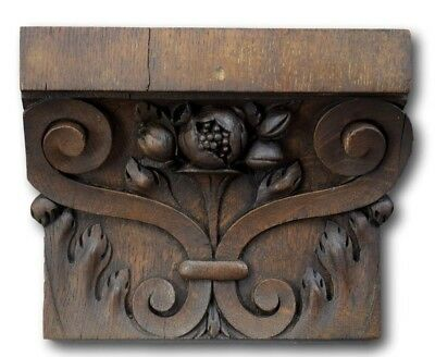Antique French Hand Carved Oak Wood Architectural Capital Corbel Pilaster