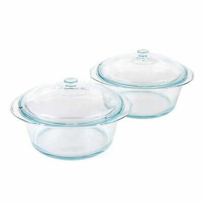 Pyrex COMBO-3402 Round 3.5 L Casserole Dishes With Lids, Set of 2, Clear Glass