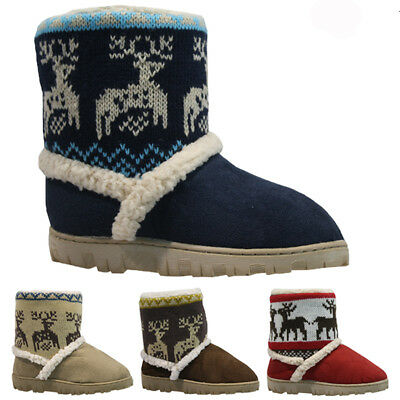 Kids Boys Girls Winter Fur Comfort Warm Winter Slippers Shoes Boots Bootie Size