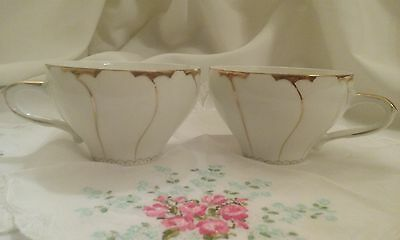 "Tea Cups 2 White/gold Trim Stripe Design - Made In Japan By ""g"""