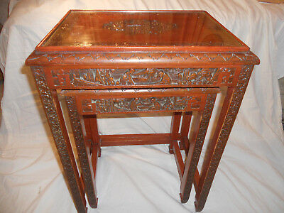 Two Vintage Antique Wooden Hand Carved Chinese Oriental Nest of Tables
