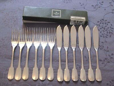 Christofle Cluny 6 Cutlery A Fish Perfect Condition