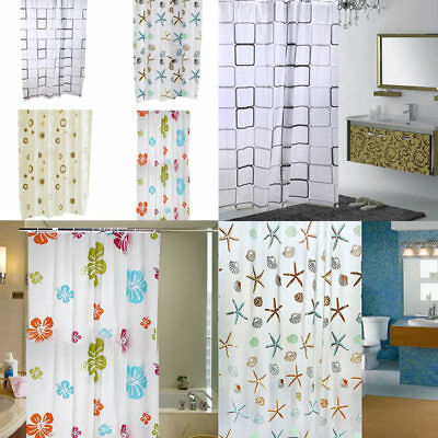 Fabric Shower Curtain Plain Waterline All Size With Weighted Hem With Hook Rings