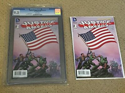 Justice League of America 1 CGC 9.2 White Pages- Classic American Flag Cover!!
