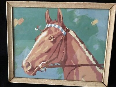 Vintage Paint By Number Framed Horse Painting