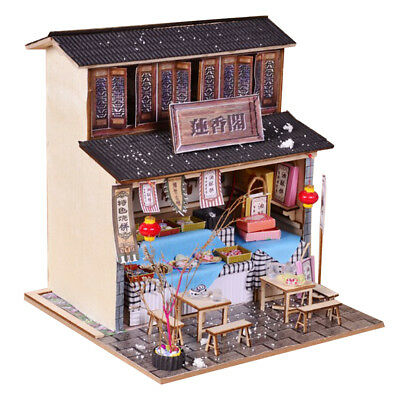 DIY Wooden Dollhouse Miniature Kit w/ Furniture, LED Light Snack Shop Gifts