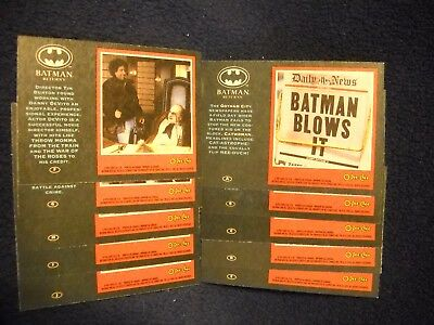 1992 O-pee-Chee Batman Returns Lettered insert SET (A-J)  DC COMICS Rare