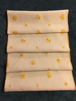 4 Vintage Off-White Linen Placemats With Hand Embroidery