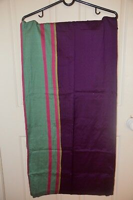 New Men's Handloom Cotton Rayon Pturple & Green Red Striped  Traditional Sarong
