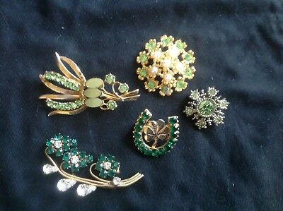Job Lot Bundle Of Pretty Gold & Green Tone Vintage Brooches Costume Jewellery
