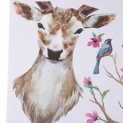 Wall Stickers Wall Decal Sika Deer Head Flowers Bird Kid Home Decor Mural DIY N7