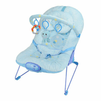 Blue Fish Vibrating and Musical Baby Bouncer Soft Bouncy Chair - UK Stock