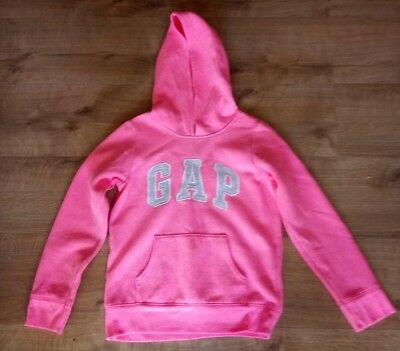Girls Gap Kids Bright Pink and Grey Motif Hoodie Age 10 - 11 Excellent Condition