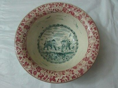 A Large Rare Mid 19thC Deep Bowl With 2 Royal Members Hunting on Elephants