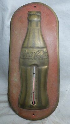 Original! 1937 Christmas Coca-Cola Bottle Thermometer Sign-Marked W.E.R.-7-1-37