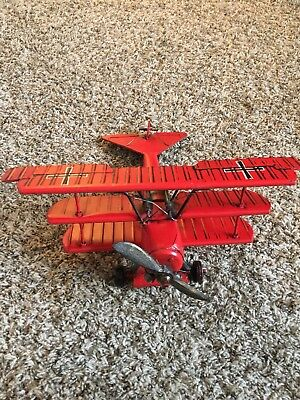 Vintage Style Red Baron German  Metal Tri-Plane Military Aircraft Model Airplane