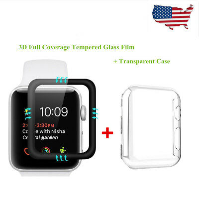 For iWatch 1/2 Full Coverage Tempered Glass Screen Protector + Transparent Case