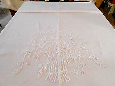 """Antique White Homespun Linen Bedspread/hand Knotted Work,""""fall Sale Item"""" C.1890"""