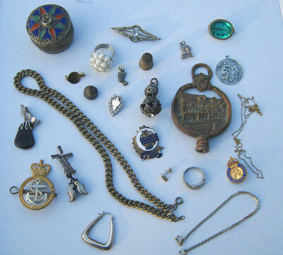 Job Lot Collectables Vintage Curiios Odd Bits Pieces Costume Jewellery , Etc.