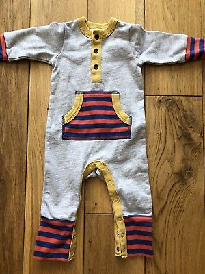 Baby Boden Grey / Striped playsuit 0-3