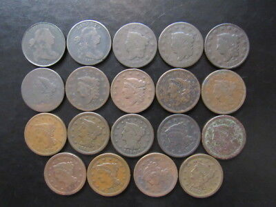 """1802 to 1853 LARGE CENT LOT """"QTY 19 COINS TOTAL"""""""