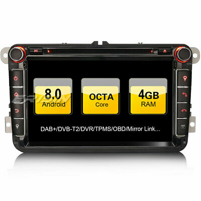 "Android 8.0  9"" Car GPS Stereo DAB+ DVD BT VW Passat Polo Golf Jetta Seat Tiguan"