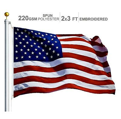 G128 - Embroidered American Flag 2x3 Ft Heavy Duty 220GSM Tough Spun Polyester