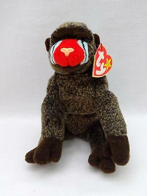 "1999 Ty BEANIE BABIES ORIGINAL Brown CHEEKS 6"" Soft Plush Sitting Monkey w/ Tag"