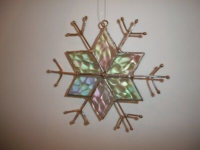 J. Devlin Glass Art Lead Free Stained Glass Snowflake Ornament NIB with tags