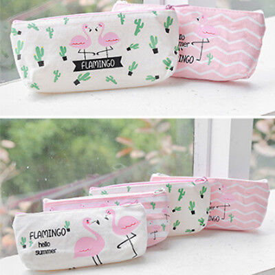 Canvas Pencil Pen Case Cosmetic Makeup Pouch Zip Bag Purse School Stationery N7